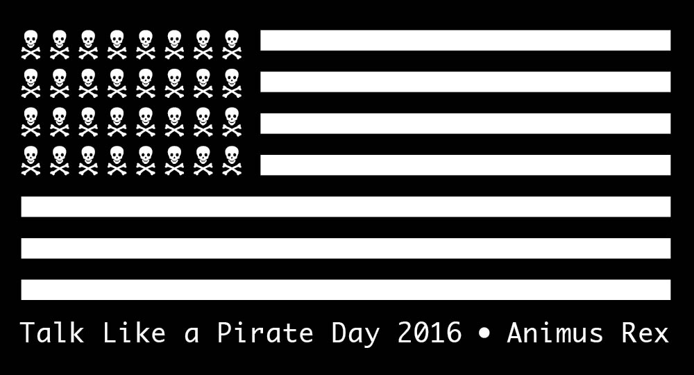 2016 talk like a pirate day tee shirt design. On the back it says: Vote or walk the plank!